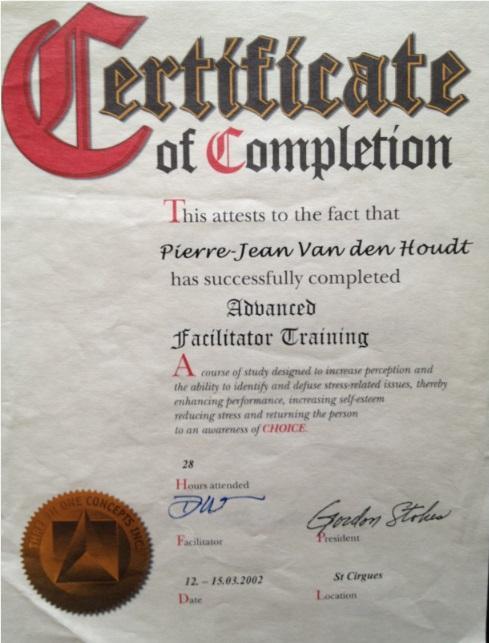 Diplome Vanden Houdt Pierre Jean Facilitator Training