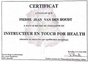 Diplome Certificat Instructeur Touch for health pierre jean vanden houdt kinesiologie sud est